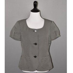Ann Taylor Checkered Short Sleeve Scoop Blazer NEW